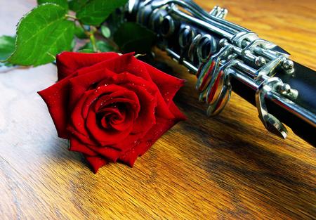 Rose and clarinet. Closeup.