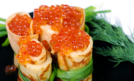 pancakes with caviar. close up.