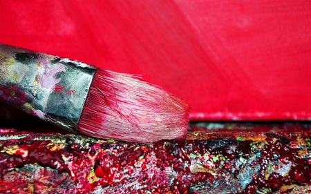 brush artist and palette close-up. copy spaces Stock Photo