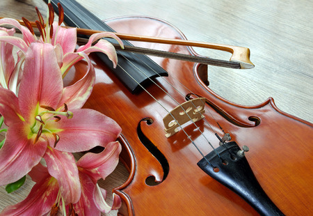 violin and lily on a wooden background Imagens