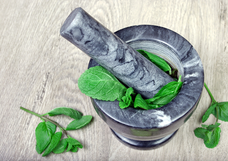 mint in mortar and pestle. close up. cold and flu remedy.