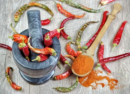 red pepper in a spoon. chili pepper in a mortar. chopping red chili pepper in a mortar.