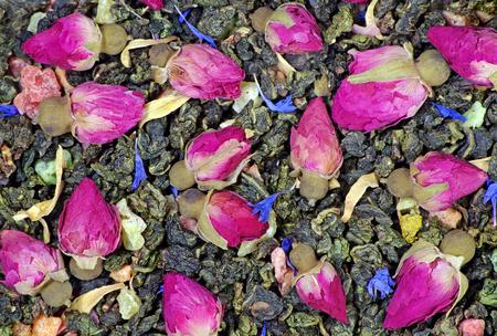green tea. green tea blend tea texture background. top view.