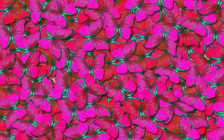 Wings of a butterfly Morpho. Flight of bright red butterflies abstract background. Red natural abstract texture background