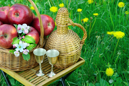 Picnic on the grass. Red apples in a basket and a bottle of wine. Copy spaces Reklamní fotografie - 123818876