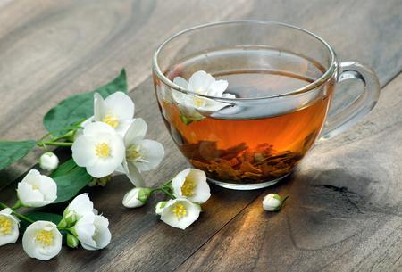 a cup of green tea with jasmine. close up Reklamní fotografie