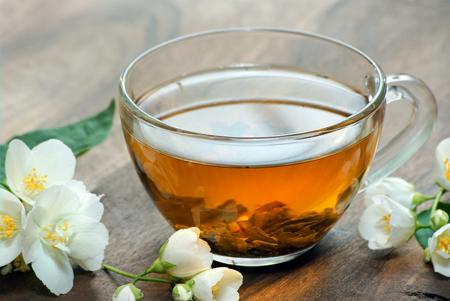 a cup of green tea with jasmine. close up Reklamní fotografie - 123819829