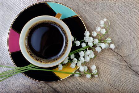 good morning. morning coffee on a wooden table. 版權商用圖片