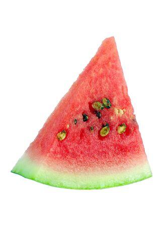Wassermelonenscheibe getrennt auf Weiß. Standard-Bild