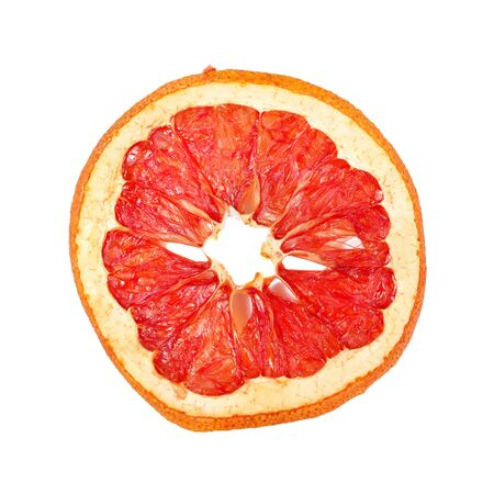 Slice Of Dried Grapefruit Isolated On White.