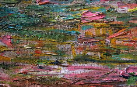 multicolored abstract background. oil paint brush strokes on canvas Stock fotó