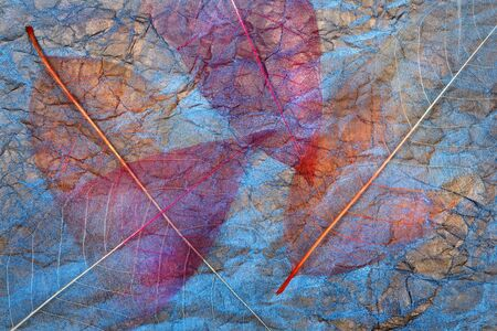 abstract background of autumn leaves. transparent leaves on blue. purple fallen leaves