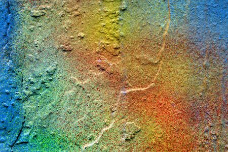 colorful painted plastered concrete wall. colors of rainbow. abstract colorful texture background.
