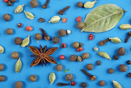 Traditional spices. Anise star, allspice, cardamom, black pepper and bay leaf on a blue background Banque d'images