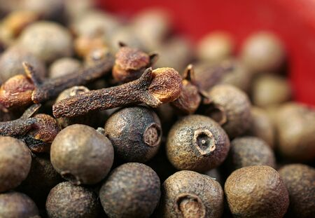 Jamaica pepper and clove texture background. allspise and clove close up. top view