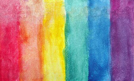 Colores del arco iris. Textura de papel de acuarela fotográfica. Fondo de acuarela abstracta. Fondo de textura de papel de acuarela húmedo. patrón de colores abstractos. manchas de acuarelas multicolores. Foto de archivo