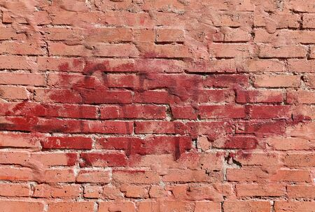 old red painted brick wall texture background