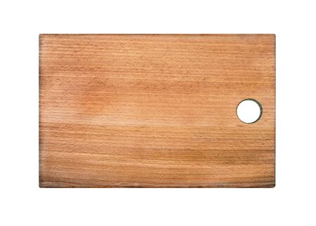 beech kitchen cutting board isolated on white 免版税图像