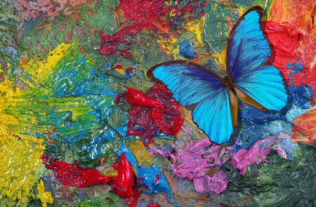 colors of rainbow. color concept. bright tropical morpho butterflies on an artist's palette. art paints and butterflies colorful background Stock Photo