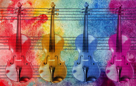 Melody concept. Old music sheet in colorful watercolor paint and violins. Abstract colorful watercolor background. Colors of rainbow