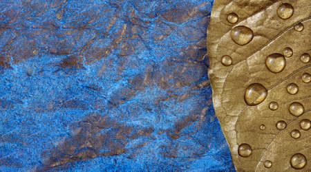 Golden leaf in drops of water on a blue watercolor background Stock fotó
