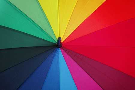 colors of rainbow. multicolored umbrella close-up. rainbow umbrella Stock fotó