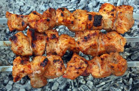 pork kebab on skewers top view