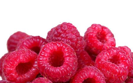 ripe raspberries isolated on white. summer healthy berries. selective focus. natural vitamins Stock fotó