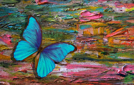bright blue tropical morpho butterfly on the background of the artist's palette. brush strokes with oil paints