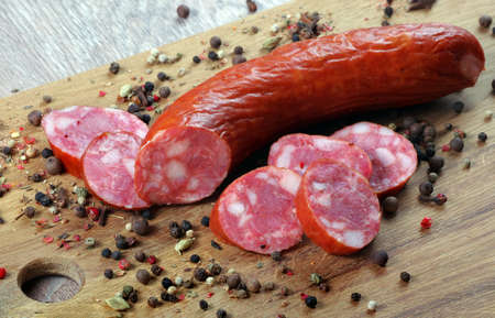 sausage on a board and spices close up Stock fotó - 155447383