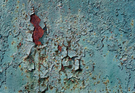 old rusty painted metal sheet close-up