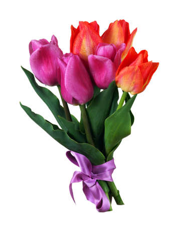 bright colorful bouquet of tulips isolated on white