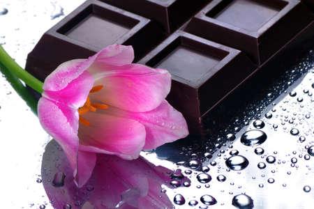 dark chocolate bar and pink tulip.