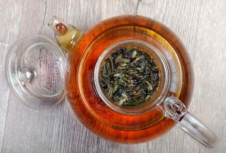 green tea brewed in a teapot. top view