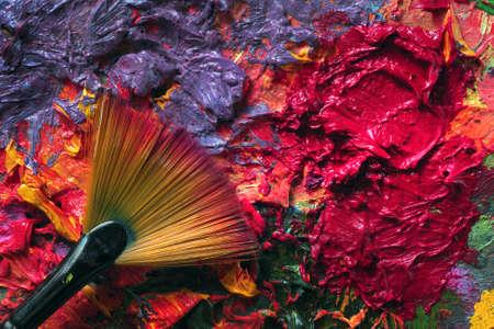 artist's palette and brush, background for design. Standard-Bild