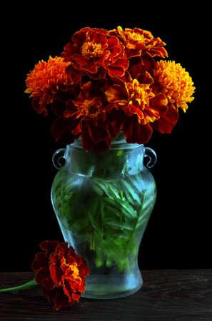 Tagetes. bouquet of marigolds in a glass vase on a black background Standard-Bild