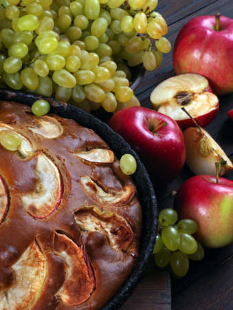 apple pie and fruits close up