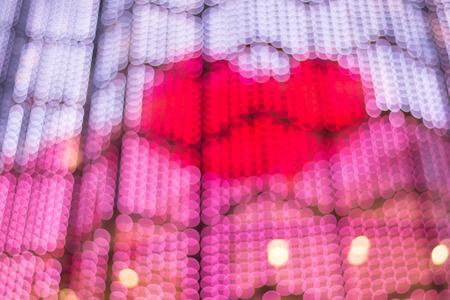 distant spot: Blur Lights bokeh Background in valentine day