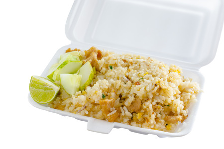 thai pepper: Fried rice with foam box,thai food