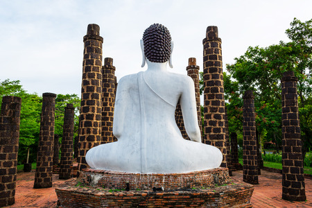 mimetic: Buddha Statue at Wat Mahathat Temple mimetic at ancient siam. Stock Photo