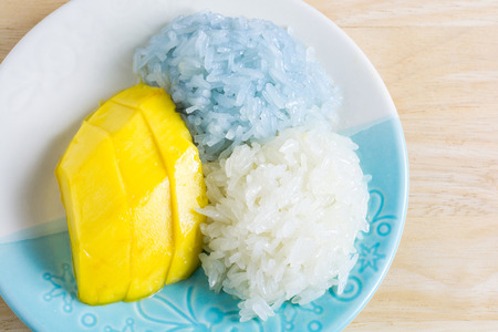 hottest: Thai style tropical dessert, The hottest menu for summer Sticky rice and Mango Sweet, aromatic sticky rice and mango, topped with creamy salty coconut milk.