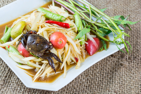 tam: Papaya salad, som tam, Popular local cuisine of Thailand Stock Photo