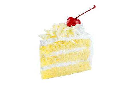 white cake delicious, vanilla cake topping with white chocolate chips decorated with whipped cream and cherries on white background. Standard-Bild