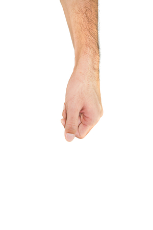 Arm and hand of man of Asian style holding on white ackground.