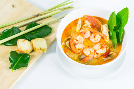 sea food: Tom Yum Goong - Thai hot and spicy soup with shrimp - Thai Cuisine
