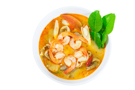 goong: Tom Yum Goong - Thai hot and spicy soup with shrimp on white background - Thai Cuisine Stock Photo