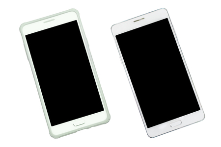 angle: Smart phone with case protection and empty with black isolated screen on with background. Aerial view. Stock Photo