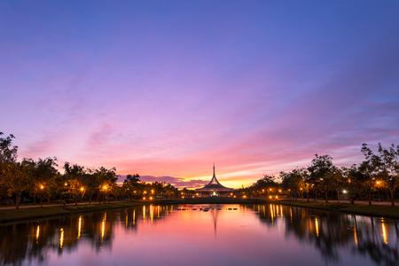 ix: Beautiful sunset at Suan luang Rama 9 park, Bangkok, Thailand , suan luang king rama IX public park important of resting area in heart of bangkok thailand