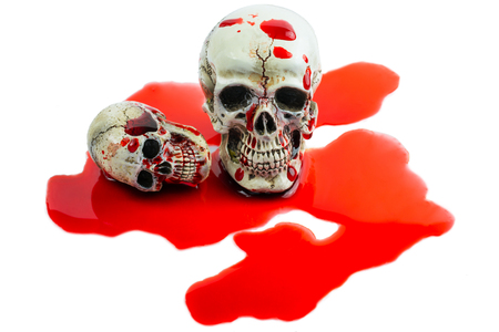 Still Life Human Skull with red blood on white. Skeleton and Skulls for HALLOWEEN FESTIVAL.