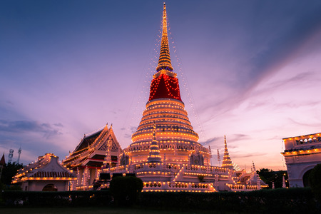 samut prakan: The stupa at temple phra samut chedi in samut Prakan with beautiful sky, Thailand, decorated during a temple festival. Stock Photo